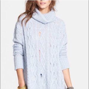 Free People Blue Distressed Turtleneck Sweater